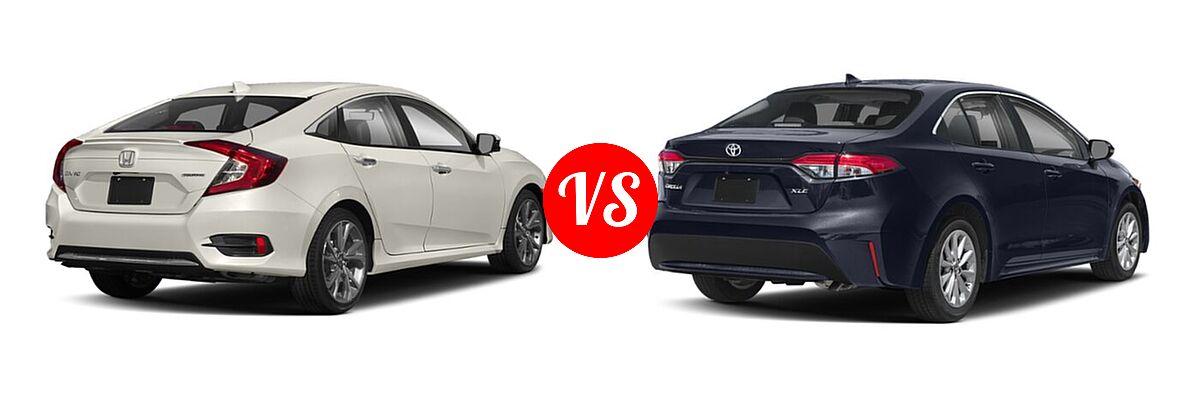 2021 Honda Civic Sedan Touring vs. 2021 Toyota Corolla Sedan XLE - Rear Right Comparison