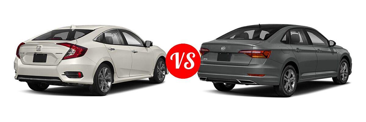 2021 Honda Civic Sedan Touring vs. 2021 Volkswagen Jetta Sedan R-Line - Rear Right Comparison