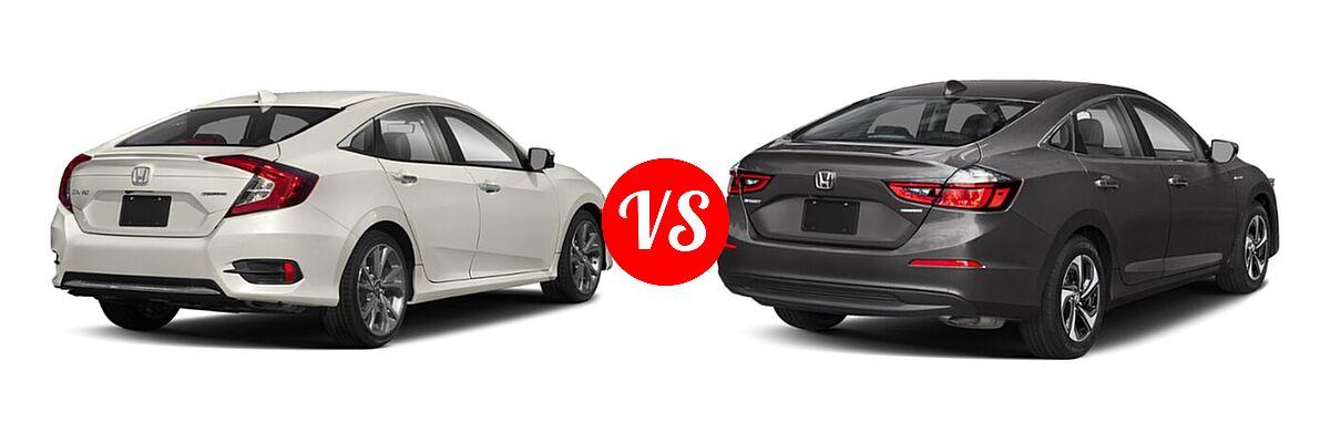 2021 Honda Civic Sedan Touring vs. 2021 Honda Insight Sedan Hybrid EX - Rear Right Comparison
