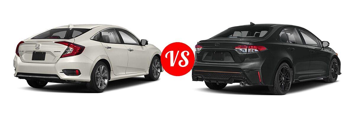 2021 Honda Civic Sedan Touring vs. 2021 Toyota Corolla Sedan APEX SE - Rear Right Comparison