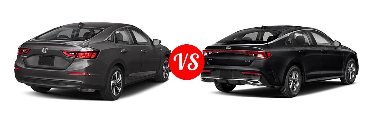 2021 Honda Insight Sedan Hybrid EX vs. 2021 Kia K5 Sedan GT / LX / LXS - Rear Right Comparison