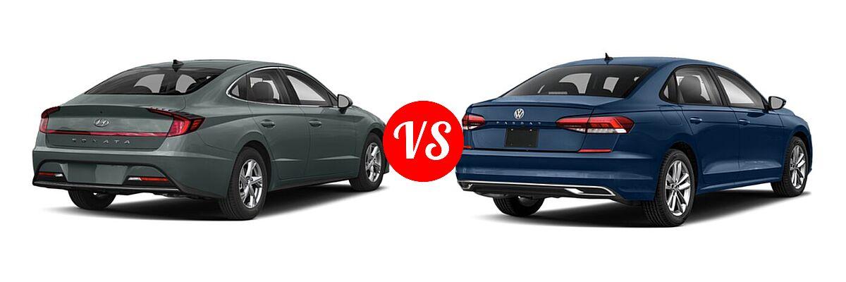 2021 Hyundai Sonata Sedan SE vs. 2021 Volkswagen Passat Sedan 2.0T S / 2.0T SE - Rear Right Comparison