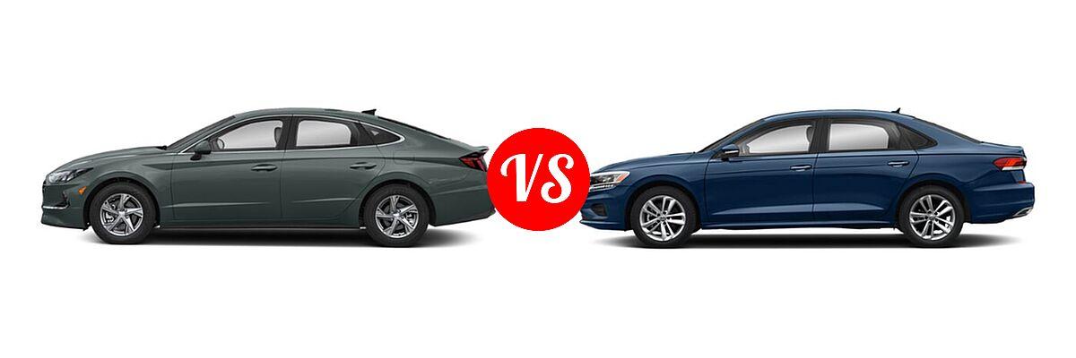 2021 Hyundai Sonata Sedan SE vs. 2021 Volkswagen Passat Sedan 2.0T R-Line - Side Comparison