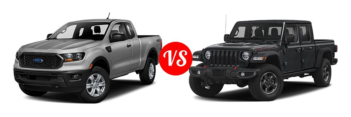 2021 Ford Ranger SuperCab Pickup XL vs. 2021 Jeep Gladiator Pickup Rubicon - Front Left Comparison