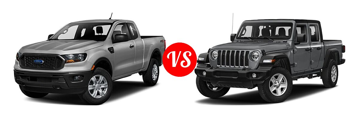 2021 Ford Ranger SuperCab Pickup XL vs. 2021 Jeep Gladiator Pickup Texas Trail - Front Left Comparison