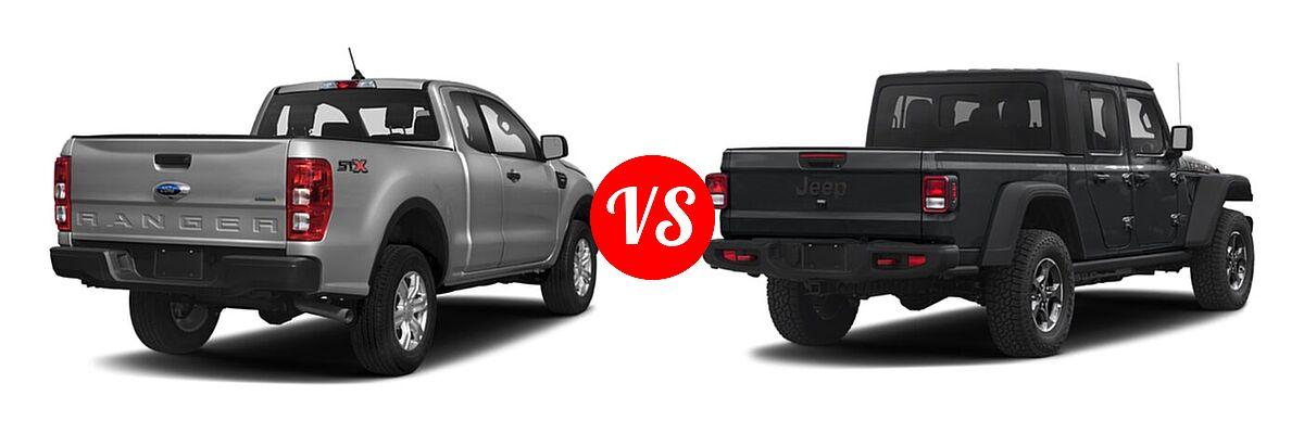 2021 Ford Ranger SuperCab Pickup XL vs. 2021 Jeep Gladiator Pickup Rubicon - Rear Right Comparison