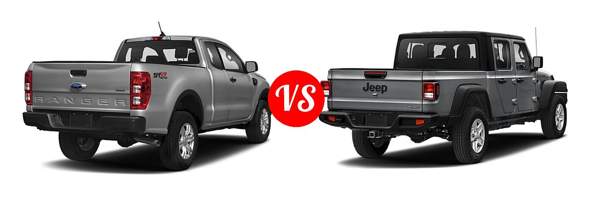 2021 Ford Ranger SuperCab Pickup XL vs. 2021 Jeep Gladiator Pickup 80th Anniversary / California Edition / Sport / Sport S / Willys / Willys Sport - Rear Right Comparison