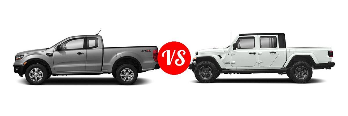 2021 Ford Ranger SuperCab Pickup XL vs. 2021 Jeep Gladiator Pickup High Altitude / Overland - Side Comparison