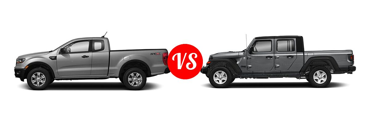 2021 Ford Ranger SuperCab Pickup XL vs. 2021 Jeep Gladiator Pickup Texas Trail - Side Comparison
