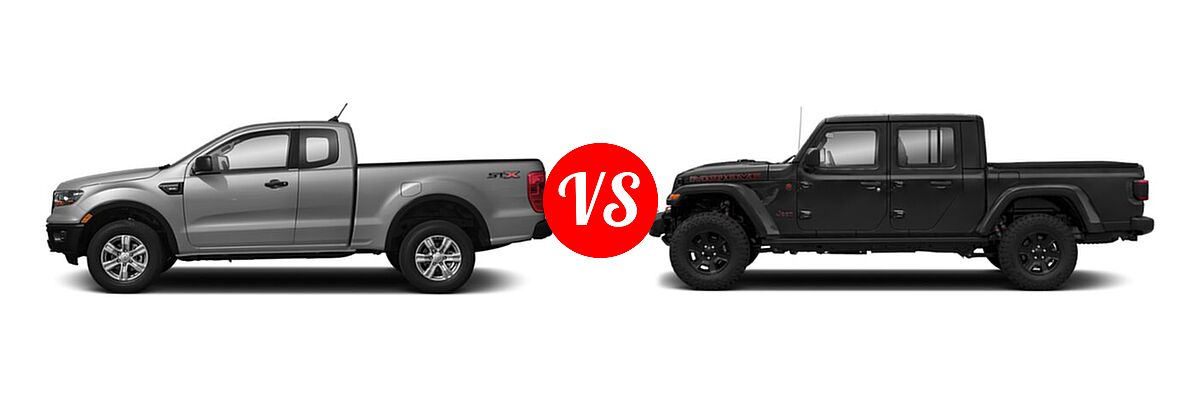 2021 Ford Ranger SuperCab Pickup XL vs. 2021 Jeep Gladiator Pickup Mojave - Side Comparison