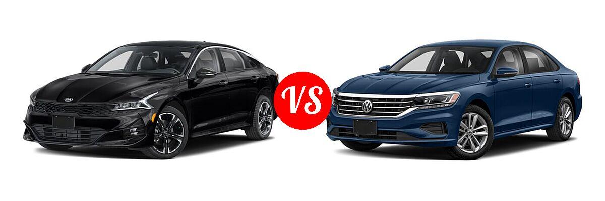 2021 Kia K5 Sedan GT-Line vs. 2021 Volkswagen Passat Sedan 2.0T R-Line - Front Left Comparison