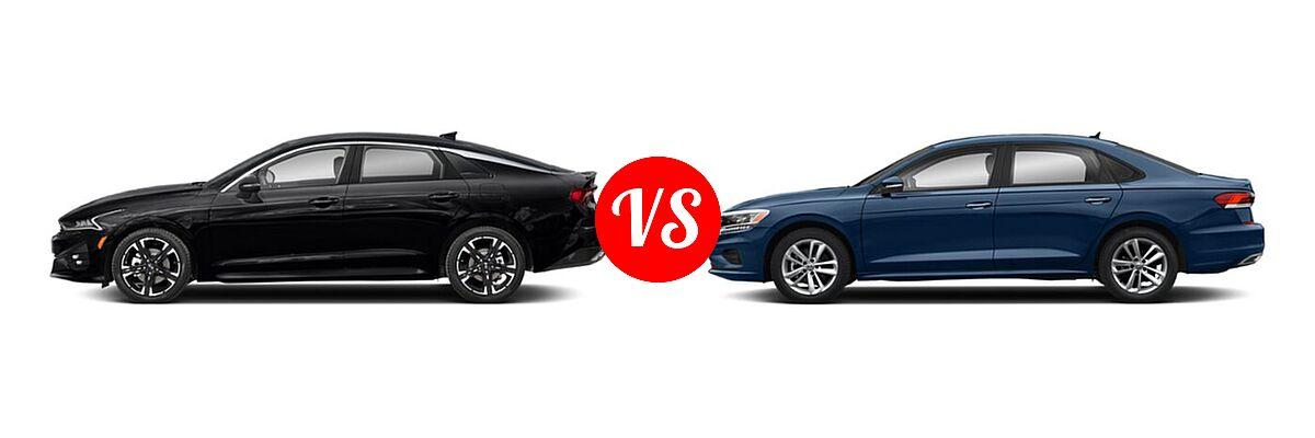 2021 Kia K5 Sedan GT-Line vs. 2021 Volkswagen Passat Sedan 2.0T S / 2.0T SE - Side Comparison