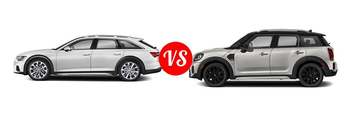 2021 Audi A6 allroad Wagon Premium Plus / Prestige vs. 2021 MINI Countryman Wagon Cooper / Cooper S / Oxford Edition - Side Comparison