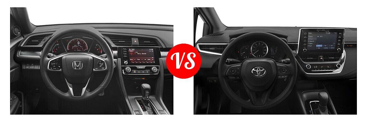2021 Honda Civic Sedan Sport vs. 2021 Toyota Corolla Sedan L / LE - Dashboard Comparison