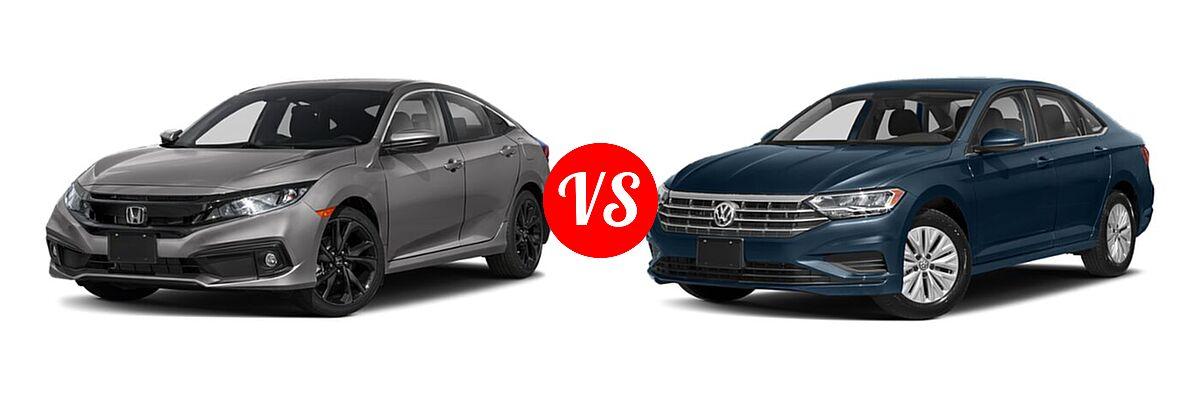 2021 Honda Civic Sedan Sport vs. 2021 Volkswagen Jetta Sedan S / SE / SEL / SEL Premium - Front Left Comparison