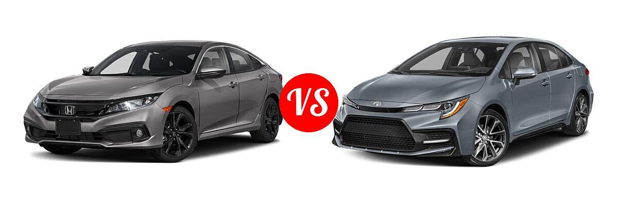 2021 Honda Civic Sedan Sport vs. 2021 Toyota Corolla Sedan SE / XSE - Front Left Comparison