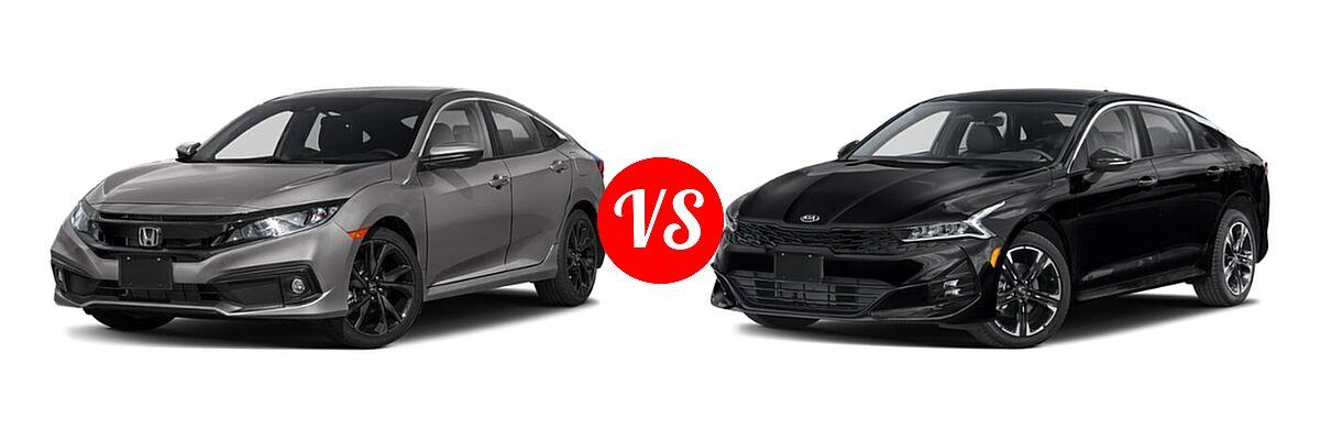 2021 Honda Civic Sedan Sport vs. 2021 Kia K5 Sedan GT-Line - Front Left Comparison