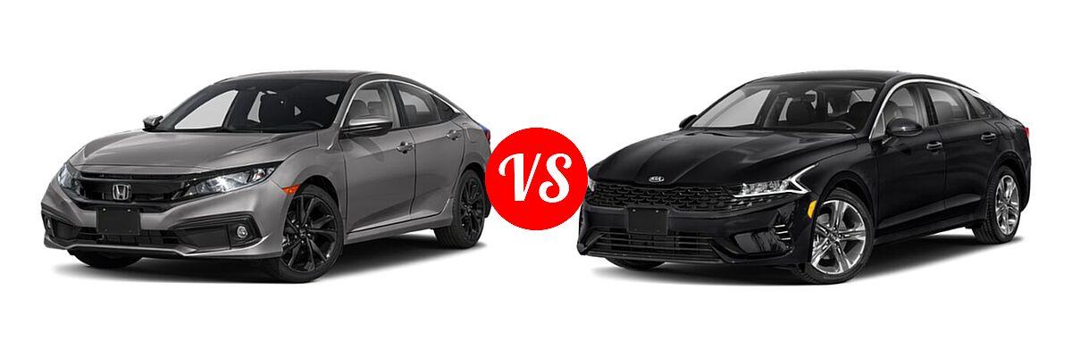 2021 Honda Civic Sedan Sport vs. 2021 Kia K5 Sedan EX - Front Left Comparison