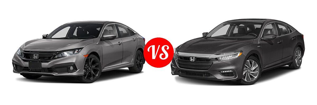 2021 Honda Civic Sedan Sport vs. 2021 Honda Insight Sedan Hybrid Touring - Front Left Comparison