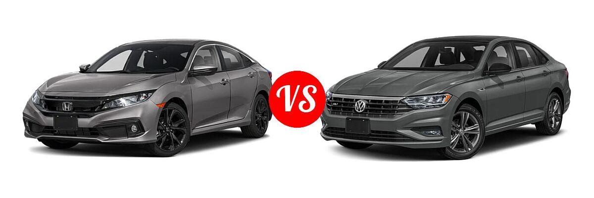 2021 Honda Civic Sedan Sport vs. 2021 Volkswagen Jetta Sedan R-Line - Front Left Comparison