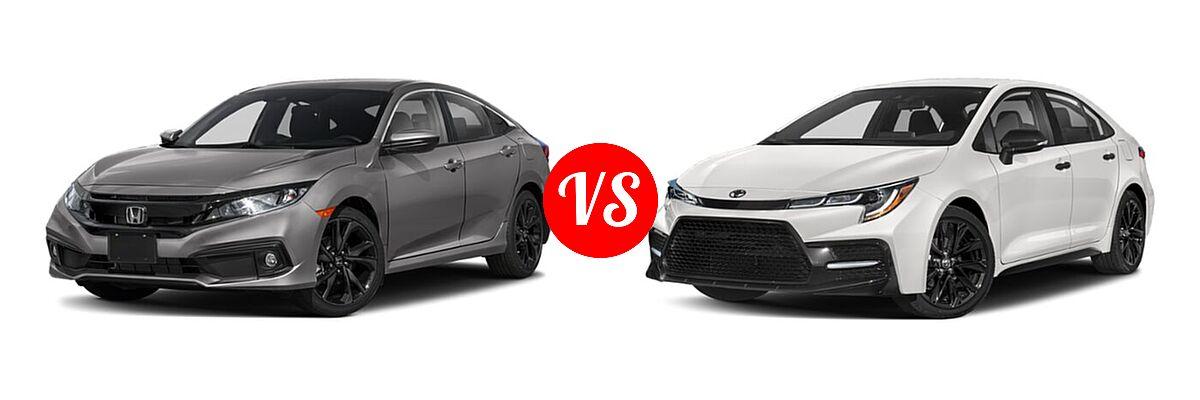 2021 Honda Civic Sedan Sport vs. 2021 Toyota Corolla Sedan Nightshade - Front Left Comparison