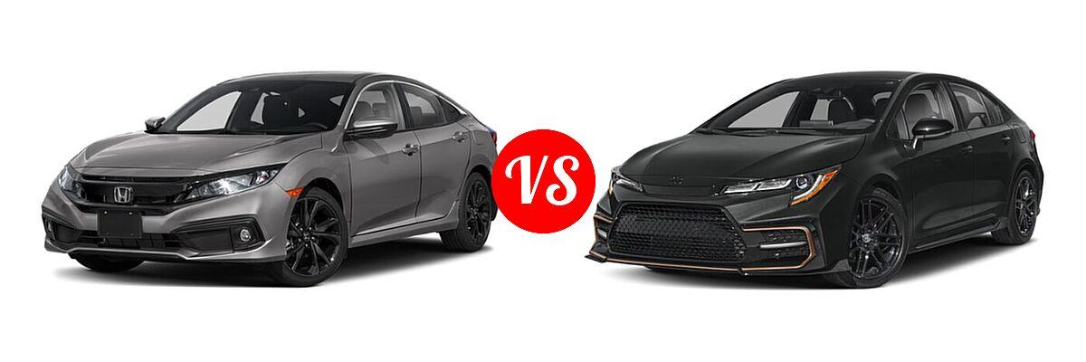 2021 Honda Civic Sedan Sport vs. 2021 Toyota Corolla Sedan APEX SE - Front Left Comparison