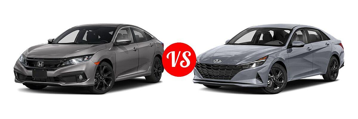 2021 Honda Civic Sedan Sport vs. 2021 Hyundai Elantra Sedan  - Front Left Comparison