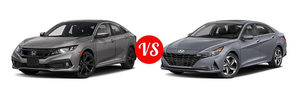 2021 Honda Civic Sedan Sport vs. 2021 Hyundai Elantra Sedan N Line - Front Left Comparison
