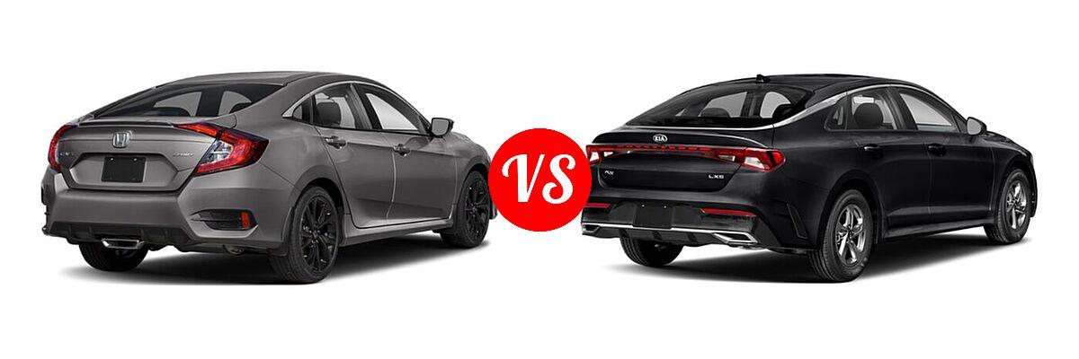 2021 Honda Civic Sedan Sport vs. 2021 Kia K5 Sedan GT / LX / LXS - Rear Right Comparison