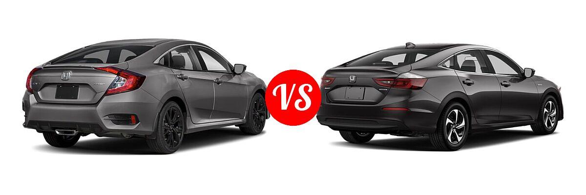 2021 Honda Civic Sedan Sport vs. 2021 Honda Insight Sedan Hybrid LX - Rear Right Comparison