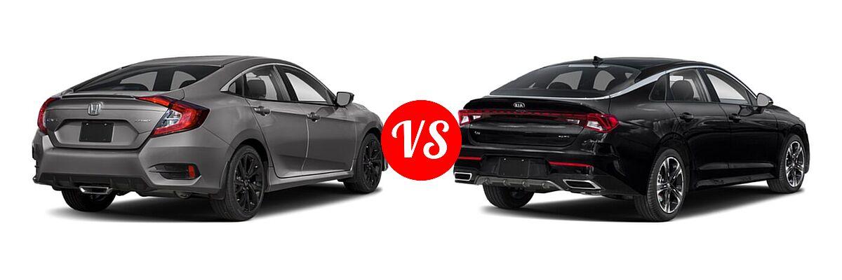 2021 Honda Civic Sedan Sport vs. 2021 Kia K5 Sedan GT-Line - Rear Right Comparison