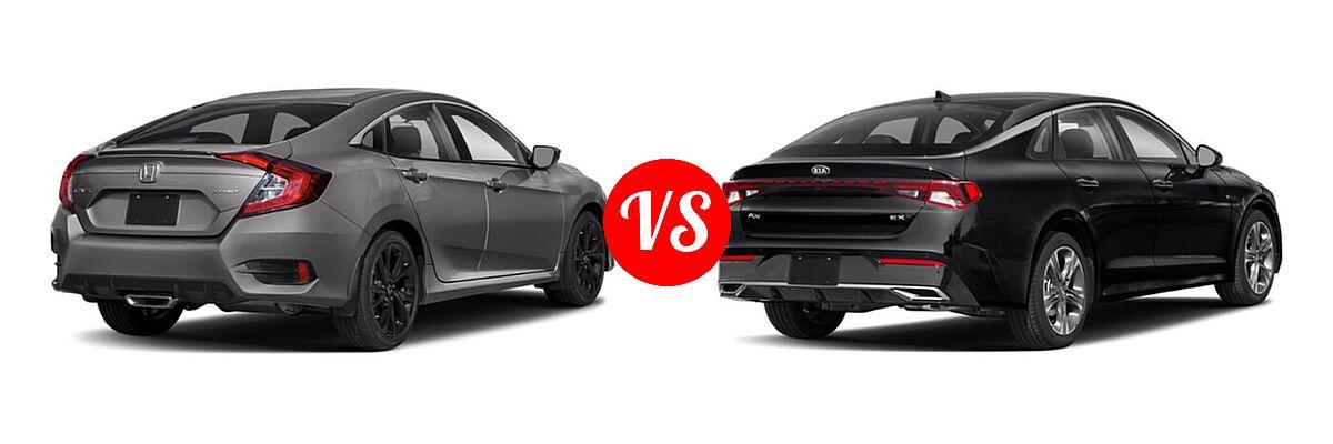 2021 Honda Civic Sedan Sport vs. 2021 Kia K5 Sedan EX - Rear Right Comparison