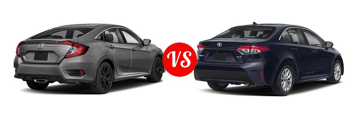 2021 Honda Civic Sedan Sport vs. 2021 Toyota Corolla Sedan XLE - Rear Right Comparison