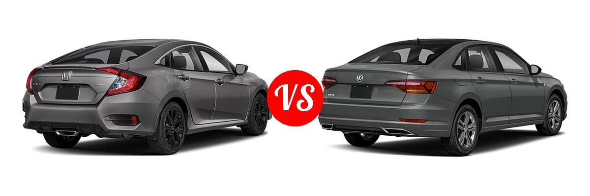 2021 Honda Civic Sedan Sport vs. 2021 Volkswagen Jetta Sedan R-Line - Rear Right Comparison