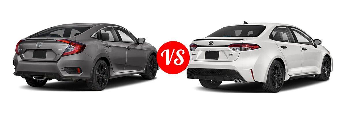 2021 Honda Civic Sedan Sport vs. 2021 Toyota Corolla Sedan Nightshade - Rear Right Comparison