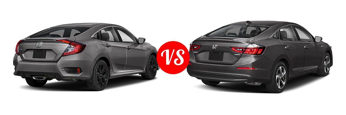 2021 Honda Civic Sedan Sport vs. 2021 Honda Insight Sedan Hybrid EX - Rear Right Comparison