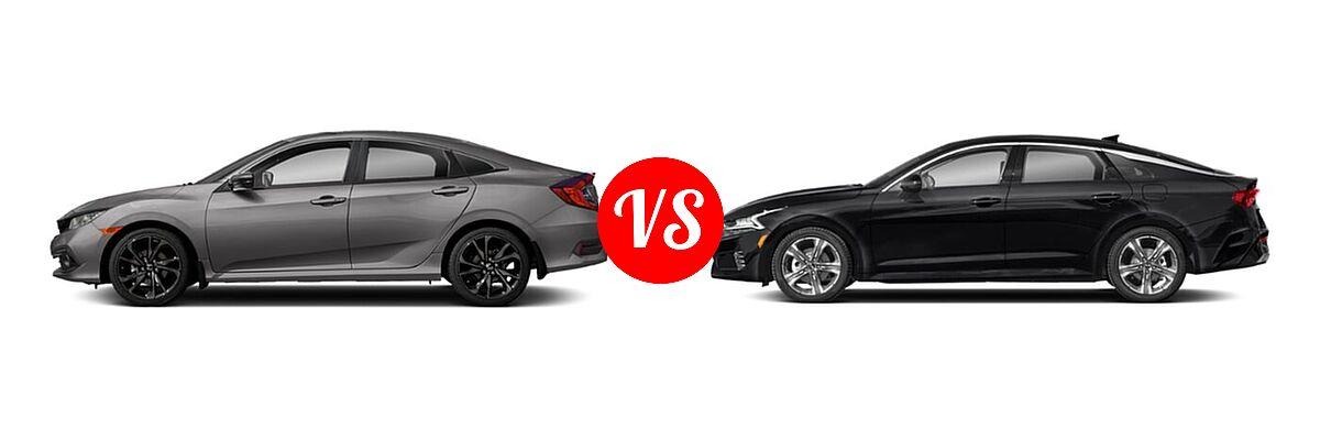 2021 Honda Civic Sedan Sport vs. 2021 Kia K5 Sedan EX - Side Comparison