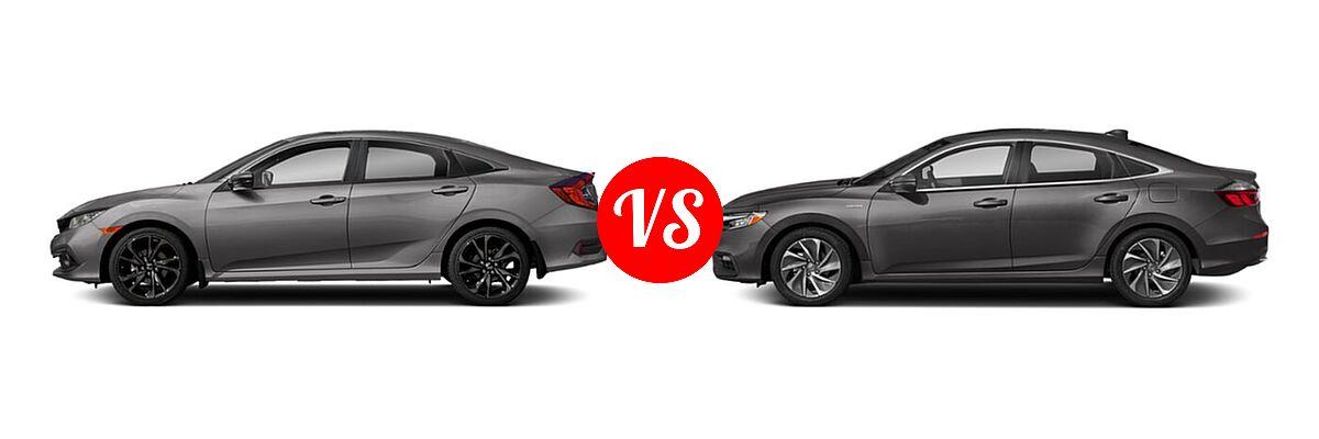 2021 Honda Civic Sedan Sport vs. 2021 Honda Insight Sedan Hybrid Touring - Side Comparison