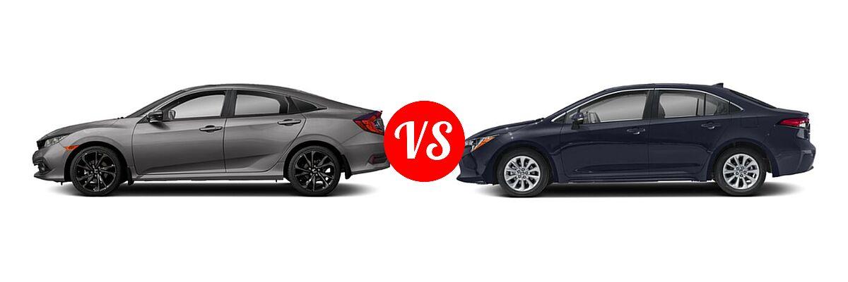 2021 Honda Civic Sedan Sport vs. 2021 Toyota Corolla Sedan XLE - Side Comparison