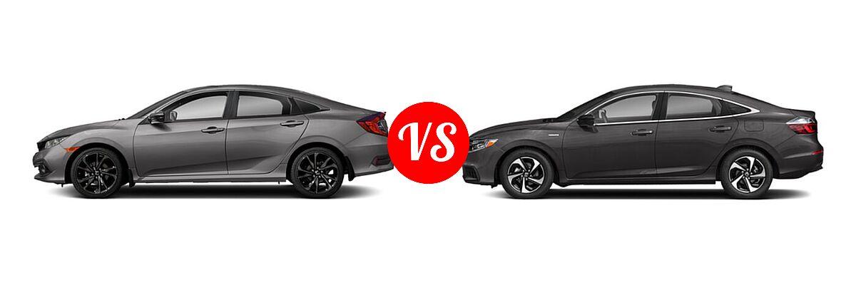 2021 Honda Civic Sedan Sport vs. 2021 Honda Insight Sedan Hybrid EX - Side Comparison
