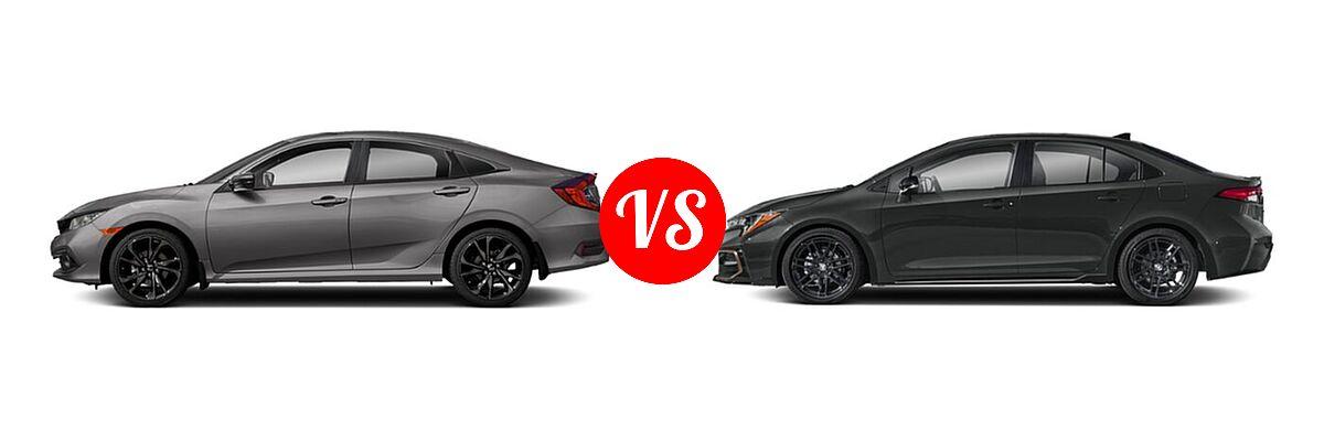 2021 Honda Civic Sedan Sport vs. 2021 Toyota Corolla Sedan APEX SE - Side Comparison