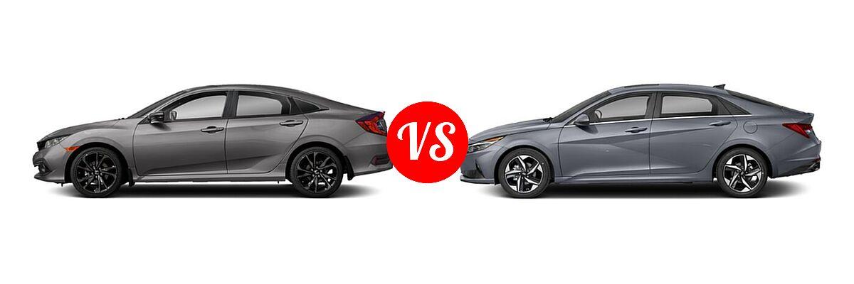 2021 Honda Civic Sedan Sport vs. 2021 Hyundai Elantra Sedan N Line - Side Comparison