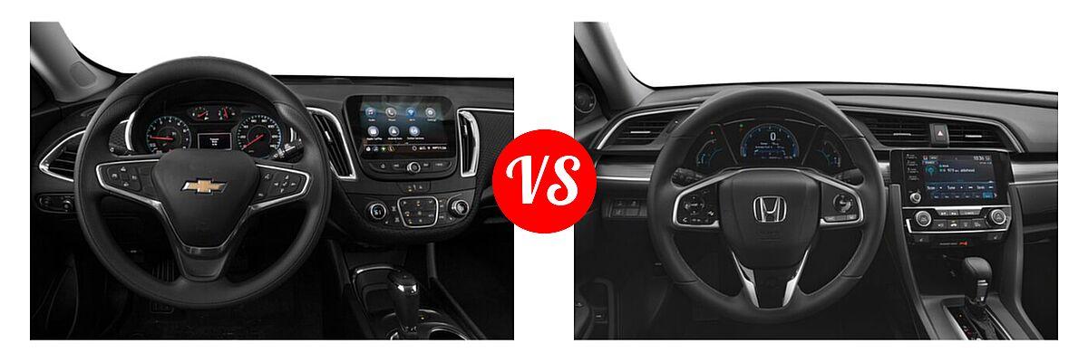 2021 Chevrolet Malibu Sedan LT vs. 2021 Honda Civic Sedan EX-L - Dashboard Comparison