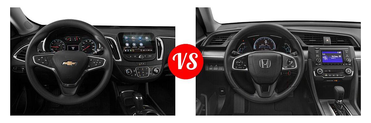 2021 Chevrolet Malibu Sedan LT vs. 2021 Honda Civic Sedan LX - Dashboard Comparison
