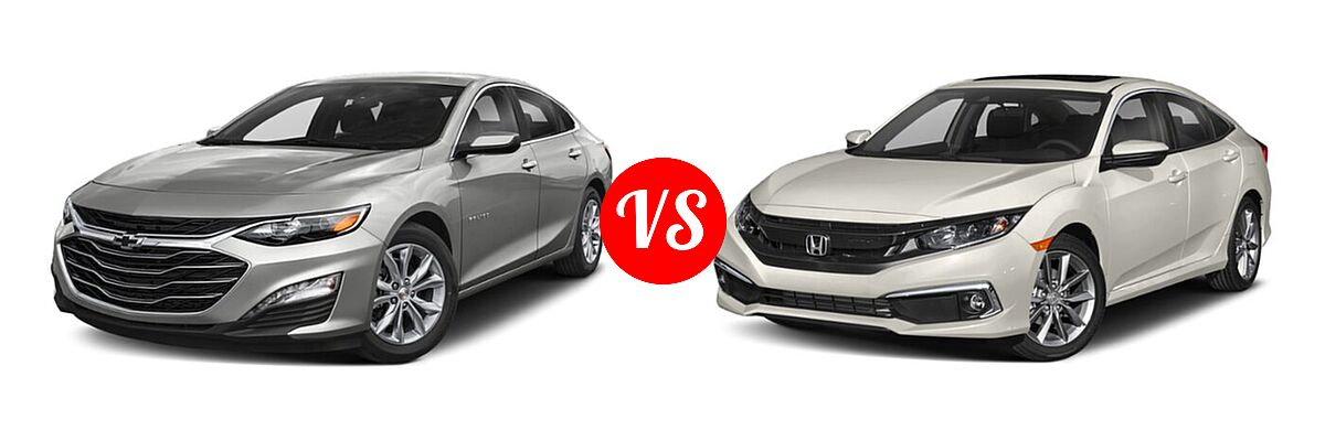 2021 Chevrolet Malibu Sedan LT vs. 2021 Honda Civic Sedan EX - Front Left Comparison