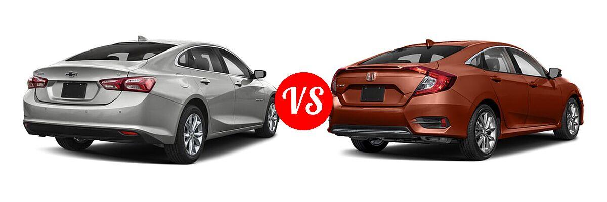 2021 Chevrolet Malibu Sedan LT vs. 2021 Honda Civic Sedan EX-L - Rear Right Comparison