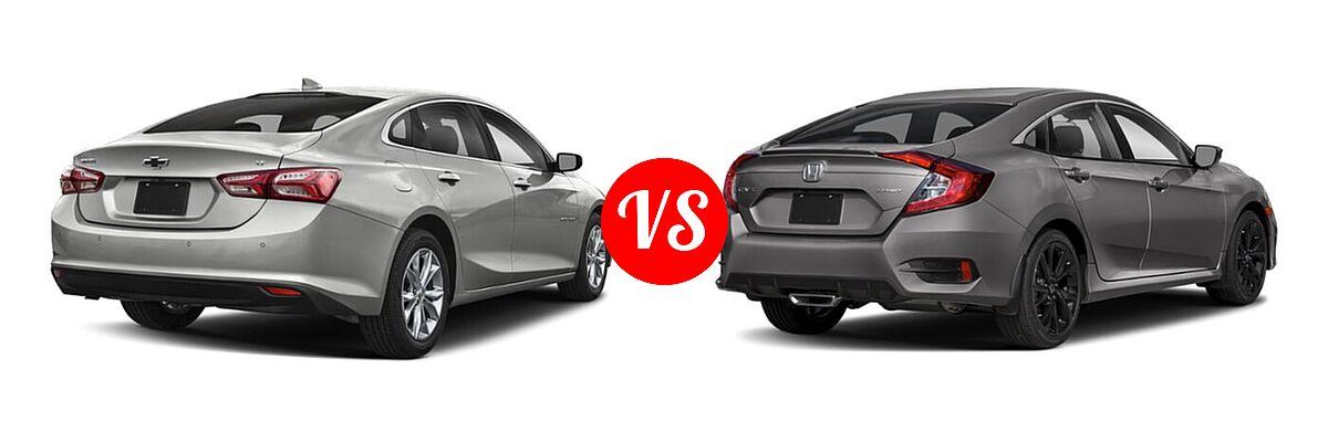 2021 Chevrolet Malibu Sedan LT vs. 2021 Honda Civic Sedan Sport - Rear Right Comparison