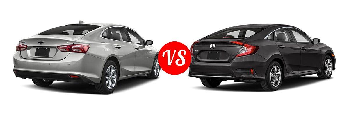 2021 Chevrolet Malibu Sedan LT vs. 2021 Honda Civic Sedan LX - Rear Right Comparison