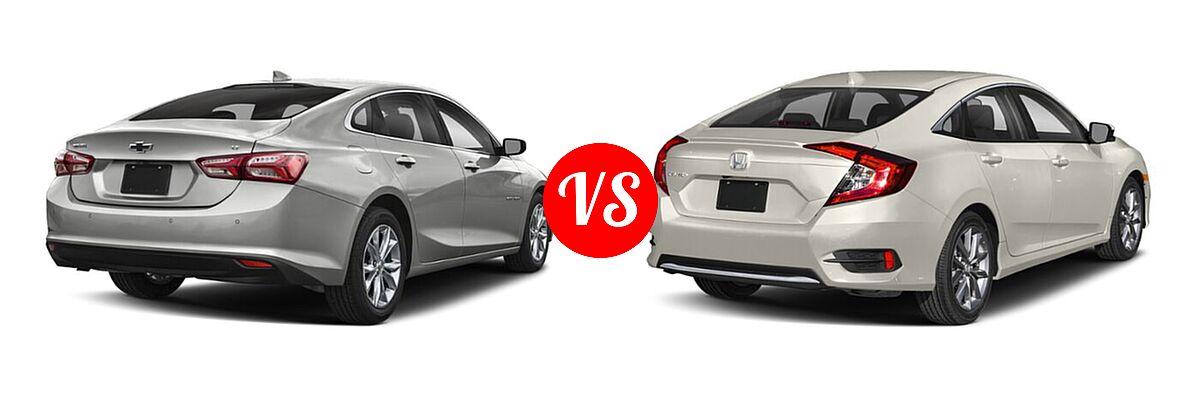2021 Chevrolet Malibu Sedan LT vs. 2021 Honda Civic Sedan EX - Rear Right Comparison