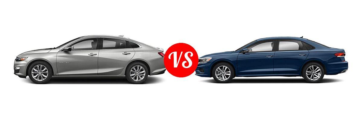 2021 Chevrolet Malibu Sedan LT vs. 2021 Volkswagen Passat Sedan 2.0T R-Line - Side Comparison